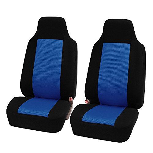 FH-FB102102 Classic Cloth Car Pair Set Seat Covers Blue/Black- Fit Most Car, Truck, SUV, or Van ()