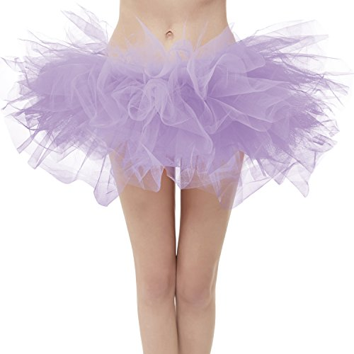 Dresstore Women's Vintage 5 Layered Tulle Tutu Puffy Ballet Bubble Skirt Lavender Plus Size]()