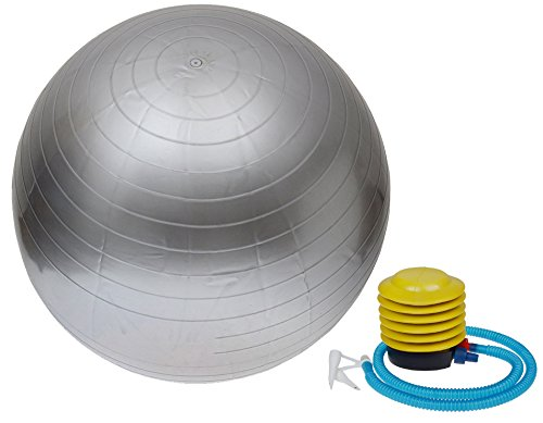 "TMS Silver 30"" Yoga Ball 75 cm Exercise Ball W/Air Pump Fitness Yoga Pilates Balance"