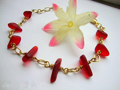Chain Red Gold Bracelet (Red Sea Glass Gold Chain Link Bracelet)