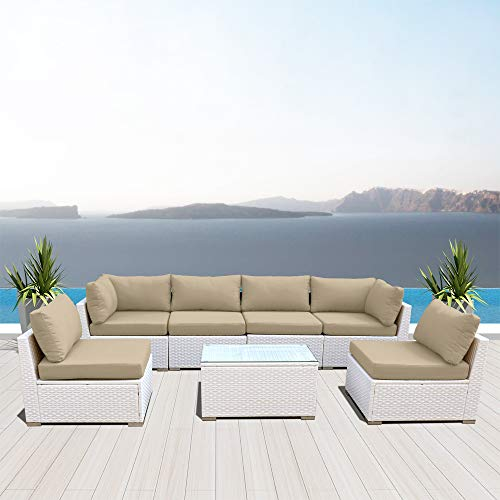 Dineli Outdoor Sectional Sofa Patio Furniture White Wicker Conversation Rattan Sofa Set G7 (Light Beige)