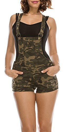 TwiinSisters Women's Trendy Destroyed Slim Curvy Short Overalls Size Small to 3XL (XX-Large, Camo) ()