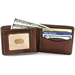 Tony Perotti Italian Leather Bifold Wallet with ID Window Passcase Flap Multi Credit Card Slots Double Currency Divider Compartment, Cognac