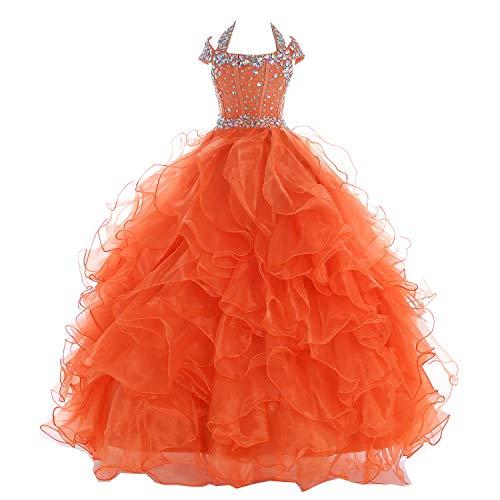 Baoji Girls' Crystal Body Straps Layered Ball Gown Ruffles Pageant Dresses 6 US Orange