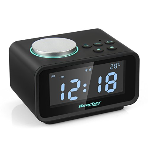 Reacher Digital Alarm Clock Radio with Dual USB Charger Port Dual Loud Alarm 6 Dimmer Snooze Indoor Thermometer and Outlet Powered for iPhone Phone Bedside Bedroom Desktop Home Office Battery Backup