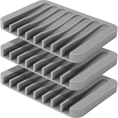 Anwenk 3Pack Soap Dish for Shower Waterfall Soap Holder Soap Tray Soap Saver Drainer Flexible Silicone for Shower/Bathroom/Kitchen/Counter Top,Keep Soap Bars Dry Clean,Easy Cleaning- - Grey Waterfall