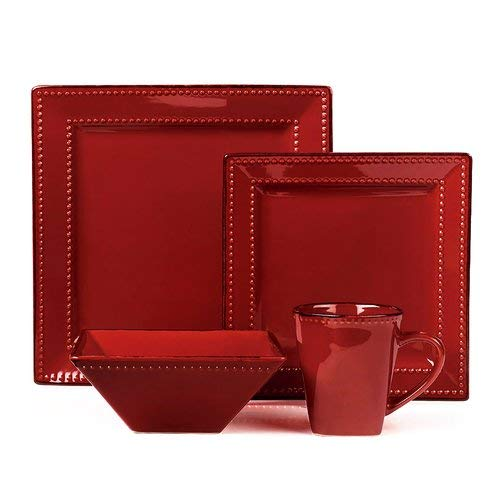 16 Piece Square Beaded Stoneware Dinnerware Set by Lorren Home Trends, Red For Sale