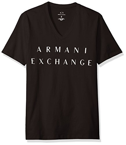 A|X Armani Exchange Men's Basic Logo V Neck Tee, Black, Large