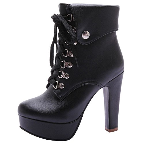 COOLCEPT Damen Western Schnurung Ankle Stiefel Hohe Ferse Black