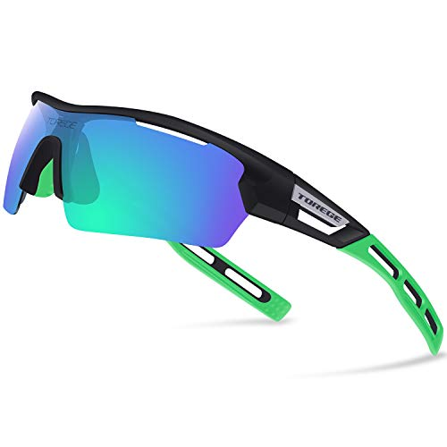 Torege Polarized Sports Sunglasses for Men Women Cycling Running Driving TR033(Black&Green tips&Green ()