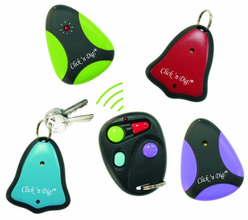 Click 'n Dig Model E4 Key Finder. 4 Receivers. Wireless RF Remote Item, Wallet Locator -