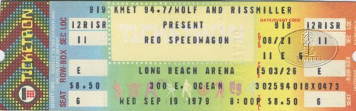 REO SPEEDWAGON 1979 NINE LIVES Unused Concert Ticket