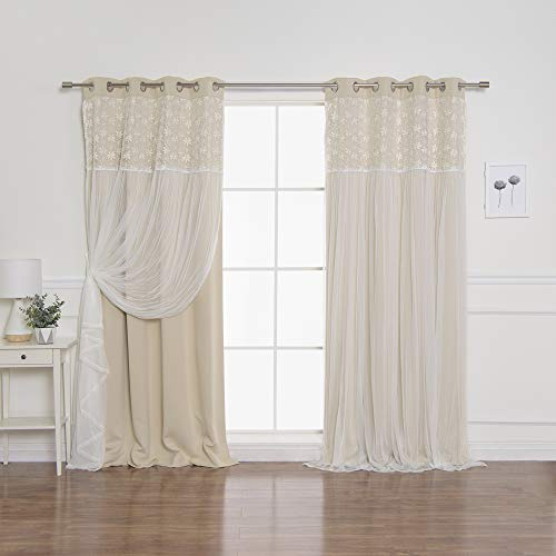 Best Home Fashion Floral Lace Overlay Thermal Insulated Blackout Curtains - Stainless Steel Nickel Grommet Top - Beige - 52
