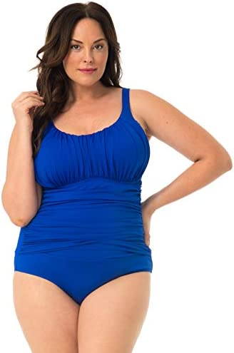 Ruched Plus Size Mesh Panel Swimsuit