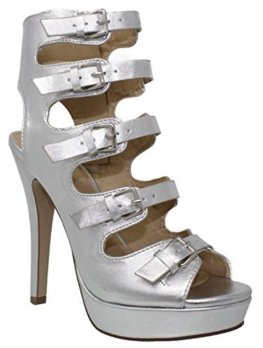 My Delicious Shoes Delicious Shoppy Patron Womens Platform Lace Up Heels Silver * W