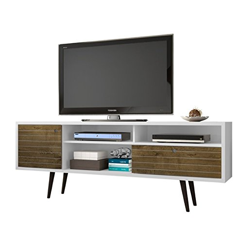 Manhattan Comfort Liberty Collection Mid Century Modern TV Stand With Three Shelves, One Cabinet and One Drawer With Splayed Legs, White/Wood (Cabinet Small Tv Wooden)