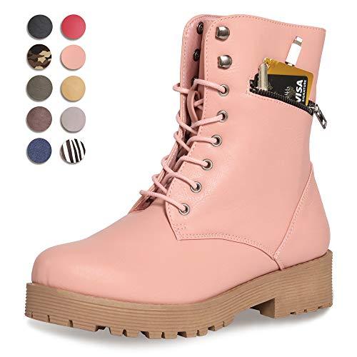CINAK  Military Combat Boots for Women- Winter Autumn Comfort Outdoor Waterproof Martin Booties Mid-Calf Shoes (9.5-10B(M)US/CN41/10'', Pink)