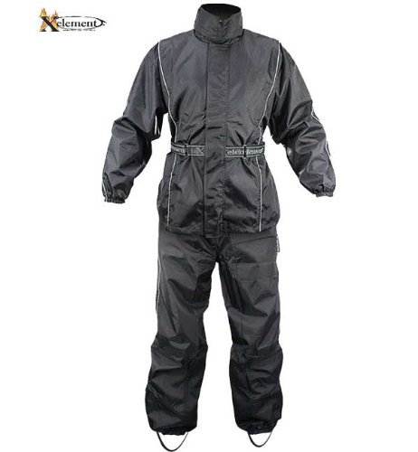 Xelement RN4760 Mens Black 2-Piece Motorcycle Rain Suit with Boot Strap - Large by Xelement
