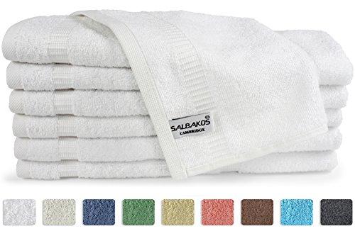 SALBAKOS Luxury Hotel & Spa Turkish Cotton 12-Piece Eco-Friendly Washcloth Set Bath, 13 x 13 Inch, White by SALBAKOS
