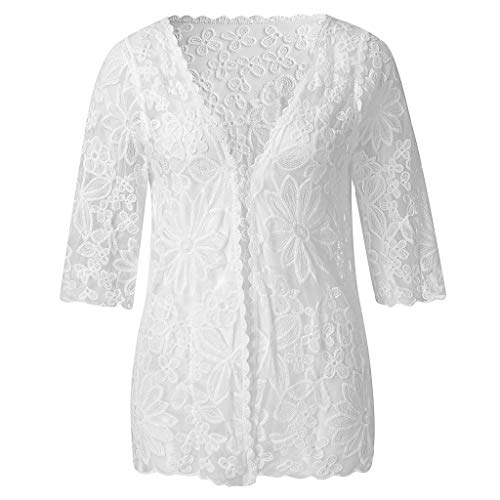 PaJau Women's Long Sheer Floral Lace Cardigan Tied Rope Long Kimono Bikini Beach Cardigan Hollow Out Beach Cover up Swimsuit (White-Short Style)
