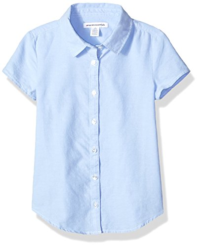 Amazon Essentials Girls' Short Sleeve Uniform Oxford Shirt, Blue, XL (12) by Amazon Essentials