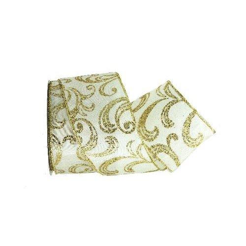 Renaissance 2000 2.5-Inch x 10yd Ivory Satin with Gold Glitter Ribbon