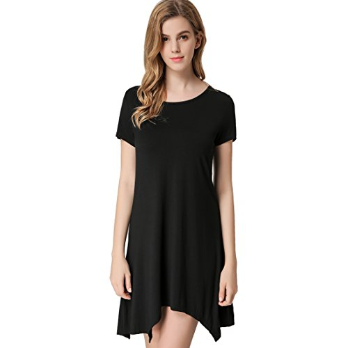 ShiZiBan Plus Size Women's Casual Swing Loose Fit Comfy Flattering Tunic Tops.Flare Short Sleeve T Shirt dress (XXXX-Large, Black)