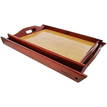 """Wood Serving Tray - Large Medium Stackable Carrying Tray with Handles - Brown - 2 Piece Set - Sml- 14.8"""" x 10.7"""", Lrg - 16.4"""" x 12.3"""""""