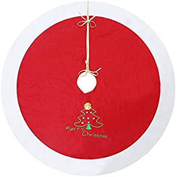 """40"""" Red and White Christmas Tree Skirt with Embroidered """"Merry Christmas"""" and Christmas Tree Sign - Traditional Velvet Holiday Christmas Decorations - 40 inches"""