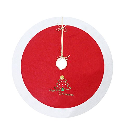 "Christmas Tree Skirt Red with Embroidered ""Merry Christmas"" and Christmas Tree Sign - Traditional Velvet Holiday Christmas Decorations - 40 inches"