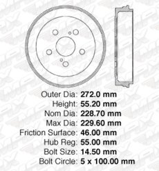 Fits 2006 06 Pontiac Vibe FWD w//Cast Iron Brake System OE Replacement Drums and Shoes Rear Kit DS9239
