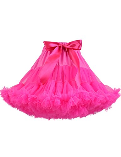 TUTUKIDS Baby Girl's Pleated Tutu Skirt Princess Toddler Birthday Party Tulle Tiered Pettiskirt Hot Pink 5-7 Year ()