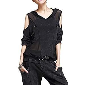 Nite closet Punk Tshirts for Women Steampunk Tops Cut Out Cool Shoulder Shirts