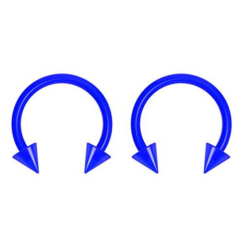 2pc 16g Dental-Grade Clear Acrylic Blue Horseshoe Hoop 3mm Spike Circular Barbells Earrings Cartilage Helix Septum Nose Lip Rings - 8mm