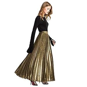 ROMWE-Falda-larga-plisada-brillante-brillante-de-acorden-para-mujer