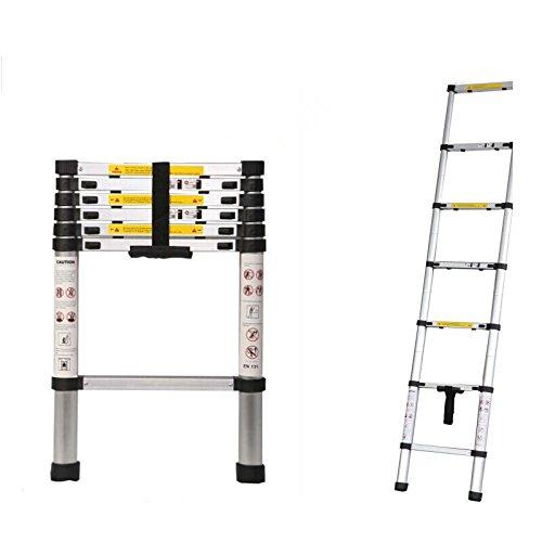 6.5ft 2M Portable Household Extension Telescopic Ladder Multipurpose Retractable Aluminum Alloy Straight Ladder Adjustable Ladder