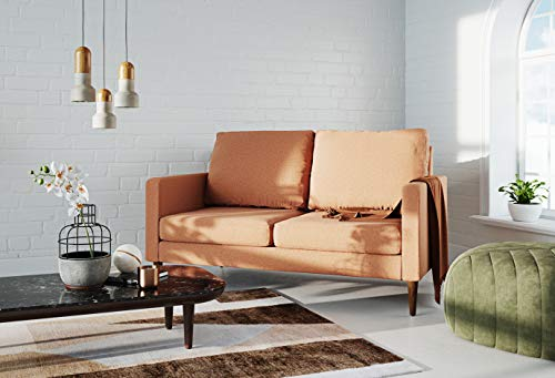 Campaign Steel Frame Brushed Weave Loveseat, 61 Inches, Mojave Orange with Mahogany Stained Solid Oak Legs