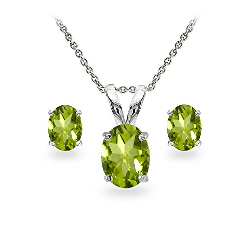 GemStar USA Sterling Silver Peridot Oval-Cut Solitaire Necklace and Stud Earrings Set