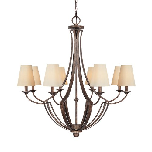 Capital Lighting 4338RT-524 Chandelier with Beige Fabric Shades, Rustic Finish