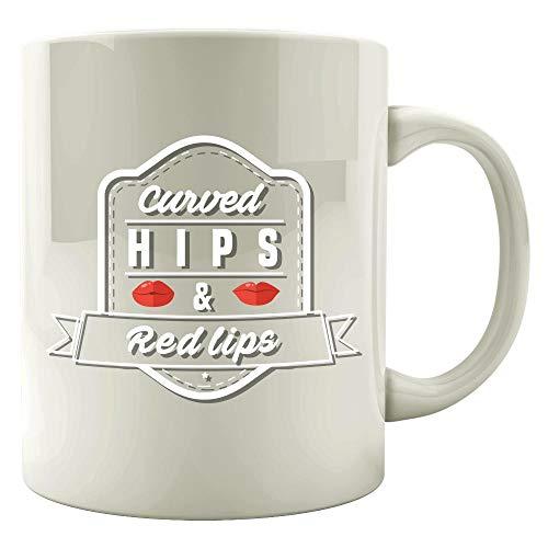 Funny Makeup - Curved Hips & Red Lips - Lipstick Foundation Blush Humor - Mug