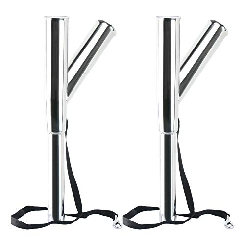 Amarine Made Special Design Stainless Steel Outrigger Rod Holder with Rod Safety Strap and Clip,Holder Tube's Angle 60° and 90° Up from The Water for Boat (2-Pack)