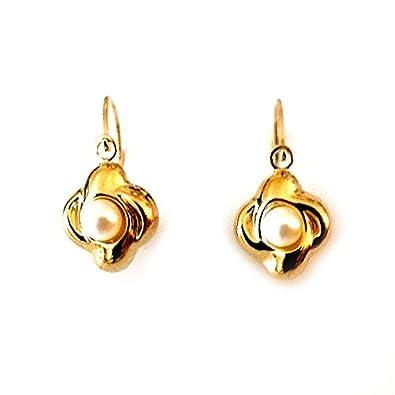 Diamantly Boucles D Oreilles Dormeuses Perles Culture Or 375