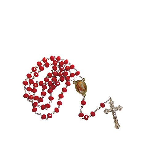 (Gifts by Lulee, LLC Our Lady of Lourdes Virgen de Lourdes Garnet Faceted Opaque Round 8mm Beads Rosary with Silver Plated Medal Centerpiece and Tertium Millenium Crucifix Includes a Prayer Ca)