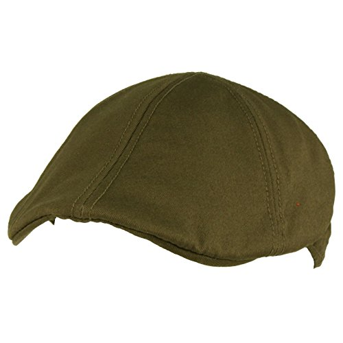 (Men's 100% Cotton Duck Bill Flat Golf Ivy Driver Visor Sun Cap Hat Olive)