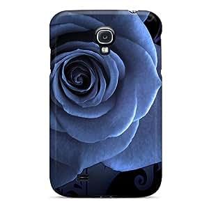 High Quality CZPyhOn5615dmnsI Blue Rose On Black Tpu Case For Galaxy S4