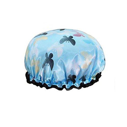Female Double Layers Waterproof Shower Cap Dust-Proof Oil-Proof Bath Hat, Butterfly, Light Blue ()