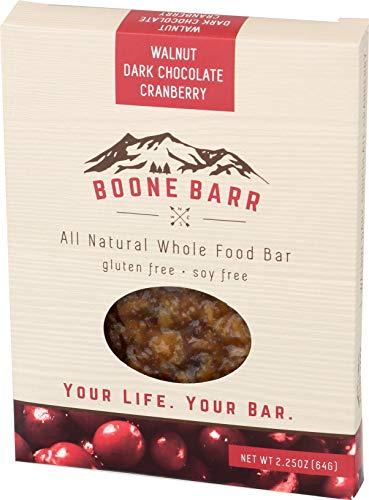 BOONE BARR Whole Food Bar, Walnut Dark Chocolate Cranberry, 2.25 oz (Pack of 12)