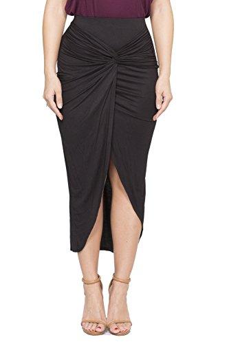 ICONOFLASH Women's Asymmetrical High-Low Tulip Bodycon Midi Skirt (Black, Small)