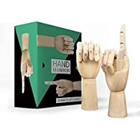 "Wooden Hand Model Wood Drawing - 8"" Posable Mannequin Flexible Moveable Fingers Manikin Hand Artist Figure Left and Right Hand for Sketching Home Office Desk Joints Kids Children Toys Gift"