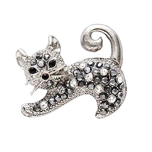Women Men Jewelry Alloy Rhinestone Casual Cat Animal Broaches Pin Brooch OK (Colors - Old Silver)